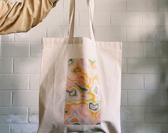 Jute Bag Organic shapes Colorful abstract vintage Art Aesthetic Bag