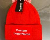 Personalised Custom Pom Pom Hat Beanie Hat Business Logo Unisex Winter Pompom Hat Gift for him Gift for her Logo Hat Personalised Bobble hat