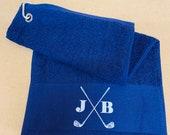 Personalised Golf Towel Golfing Towel Gift for him Gift for her Golf towel personalised towel Blue Towel Black Towel