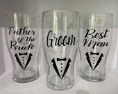 3 x Personalised Wedding Pint Glasses hand made custom design gifts place setting