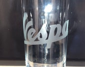 VESPA Design Large Highball Glass Etched Glass