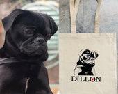 Pet portrait tote love my pet Cotton custom tote bag pet dog personalised  gift shopper bag cat dog bag