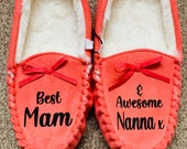 Personalised custom Ladies Moccasin Slippers Slippers for Mum Nan Sister Friend Warm Slippers slippers for her you choose own wording
