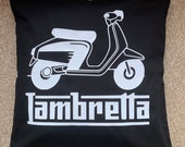 LAMBRETTA cushion cover Man Cave Cushion Fathers Day Gift Gift For Dad Gift For Him Cushion Cover Black Or Grey - Custom Orders Welcome