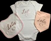 3 Piece Personalised Baby Gift Set Baby Bandana Bib Baby Bib Baby Vest Christmas Gift New Baby