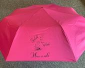 Personalised custom foldable umbrella with sleeve, Pocket Umbrella, Hand Bag Umbrella, Any Name, Any Logo, work umbrella, Company umbrella