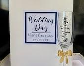 Personalised Wedding Gift Bag & Flute, Bride, Groom, Bridesmaid, Best Man, Wedding Party, Favours, Place Setting wedding set wedding gift