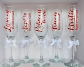 5 x Personalised Wedding Champagne/Prosecco Flute glasses with hand tied bow
