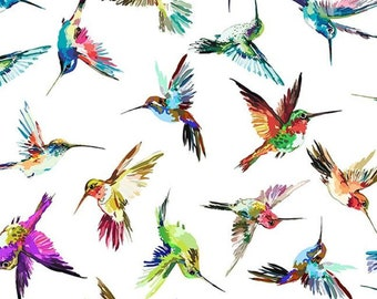 Hummingbird Lane fabric, Hummingbird fabric, In the Beginning, Birds, 100 % cotton, sewing, quilting fabric SOLD BY the 1/2 YARD