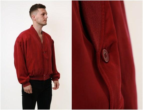 SILK 80s Vintage Rare Dark Red Lined Jacket 17671