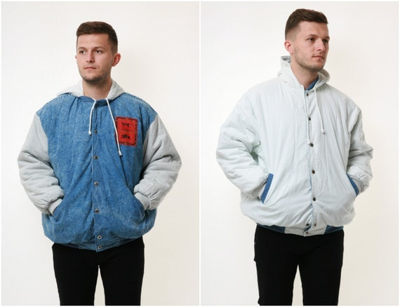 TWO SIDED 90s Vintage Hooded Cotton Jacket 17953