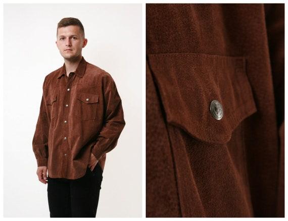 Italian Leather 90s Vintage Oldschool Shirt 17350