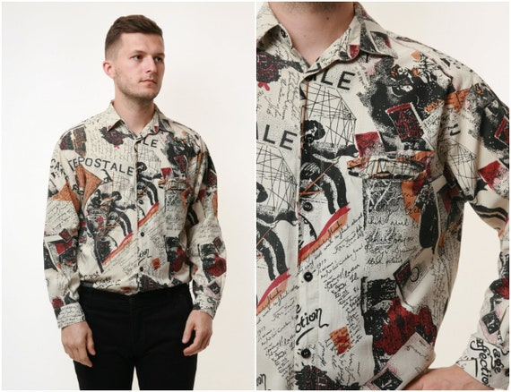90s Vintage Oldshool Abstract Pattern Mens Shirt 1