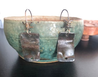 Sterling Silver Ear Wire Upcycled Ceiling Tin Earrings Rustic Circle Dangle