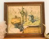 Vintage Still Life Giclee Print Fruit Food Grapes Jug Brass Circa 1960s