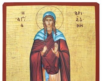 Saint Ariadne, full body, Byzantine icon, orthodox icon, handmade icon