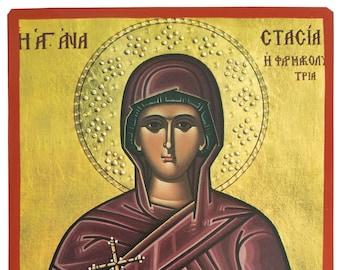 Saint Anastasia the Great Martyr, Deliverer from Bonds, Byzantine icon, orthodox icon, handmade icon