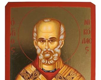 Saint Nicholas, Archbishop of Myra in Lycia, with vessel, Byzantine icon, orthodox icon, handmade icon