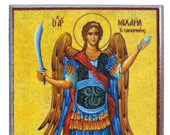 Archangel Michael, Panormites of Syme, Greece, full body, Byzantine icon, orthodox icon, handmade icon