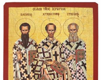Three Holy Hierarchs, Saints Basil the Great, Gregory the Theologian, John the Chrysostom, Byzantine icon, orthodox icon, handmade icon