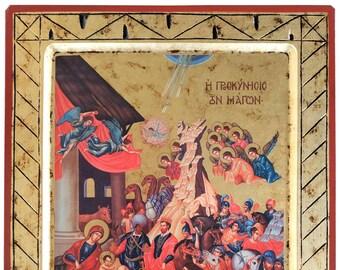 Adoration of the Magi, Byzantine icon, orthodox icon, handmade icon