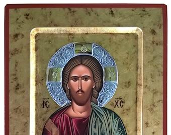 Christ Blessing, Byzantine icon, orthodox icon, handmade icon