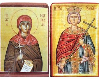 Saint Marcella, martyr, of Chios, Greece - Saint Helen, Byzantine icon, orthodox icon, handmade icon