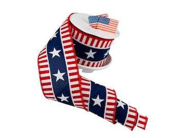 Patriotic Ribbon RGC1079a1 Wreath Supplies Patriotic Bold Stars Stripes Wired Ribbon