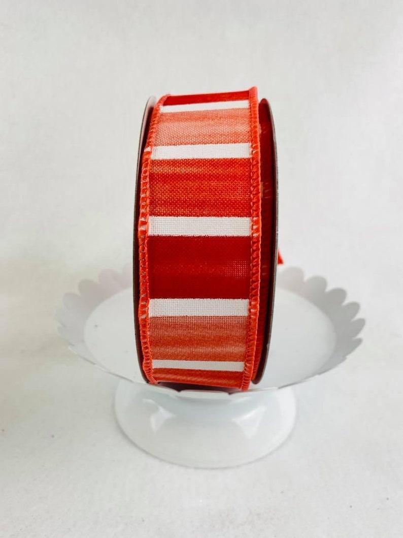 1.5 RG01438XT Summer /& Spring Ribbon Wired Ribbon CrimsonPinkPeachWhite Ribbon