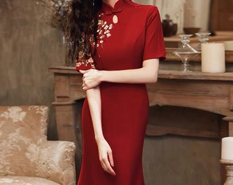 traditional Chinese wedding dress long embroidered qipao tea Ceremony Bridal dress Free alteration 34 sleeve Red embroidery Cheongsam