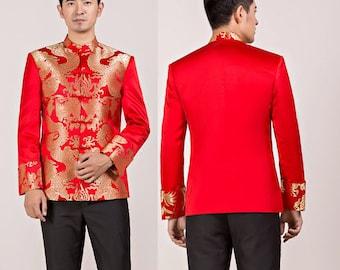 Men's wedding suit, Chinese wedding suit,  Wedding Tang Jacket, various pattern, mandarin collar
