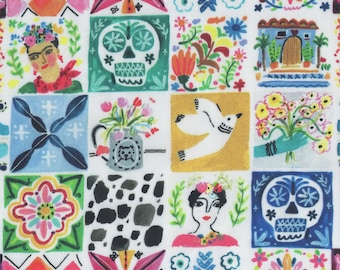 Mexican Fabric FQ, Frida Kahlo Fabric Fat Quarter, Viva Mexico Bright Cotton Material