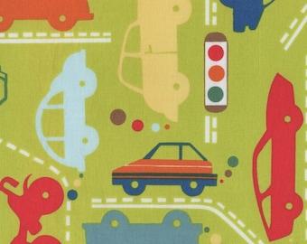 Car Fabric FQ Alexander Henry Beep Beep Green Cotton Fat Quarter Free Post UK