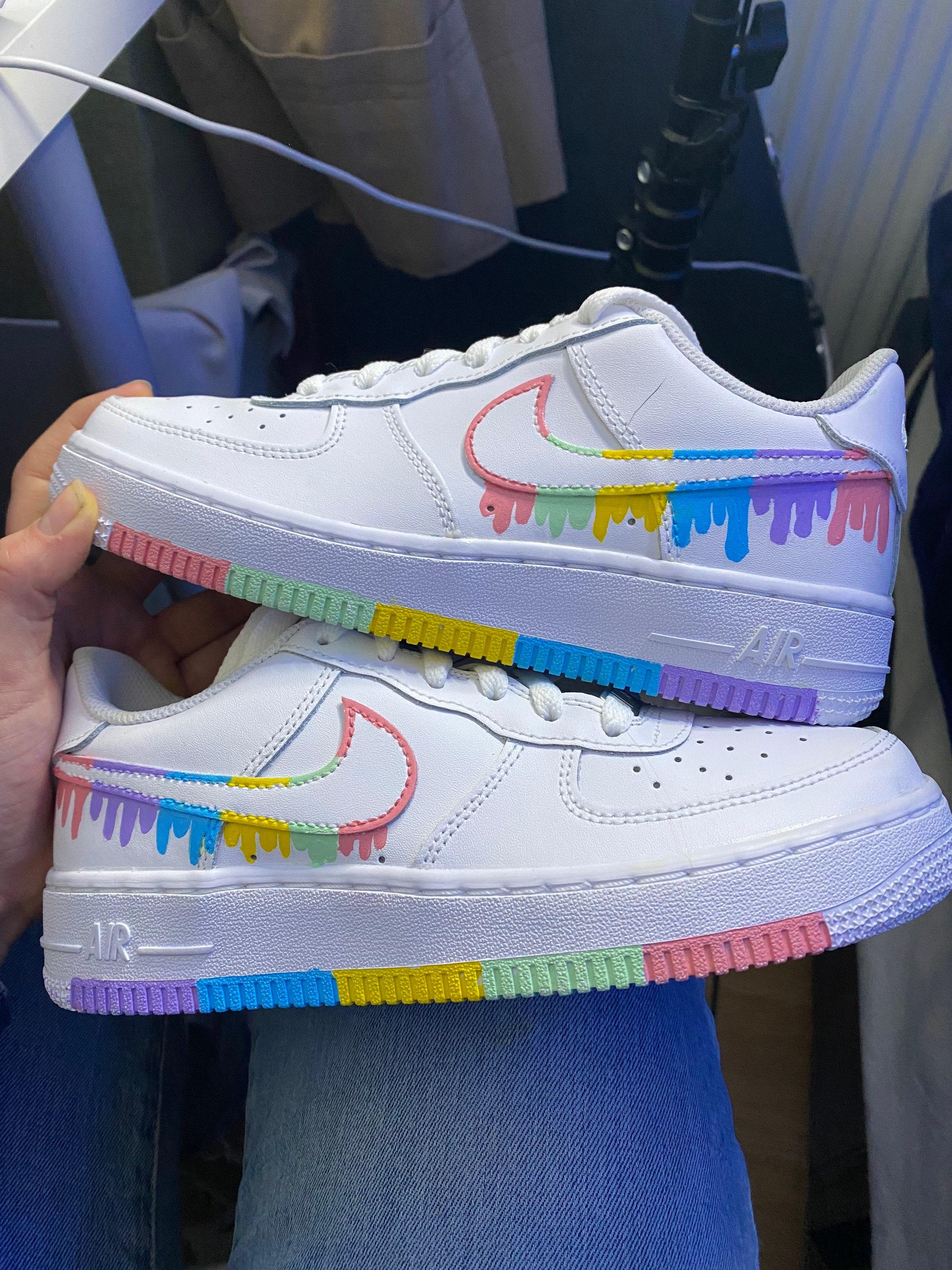 Pastel Rainbow Drip Custom Air Force 1's