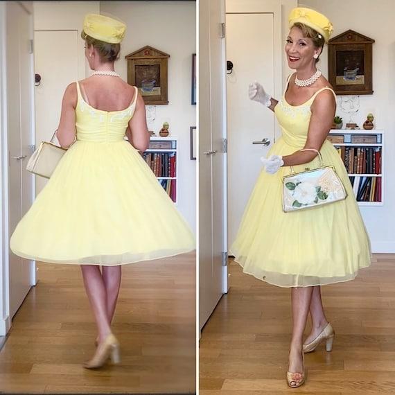 Vintage Chiffon Dress / Sunshine Yellow / Emma Dom