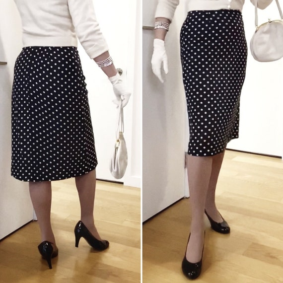 Polkadot skirt / 40s 50s style / black with white