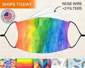 Rainbow Face Mask With Nose Wire, Reusable, Washable, Adjustable 3 Layer Face Mask With Filter Pocket and Filters, for Women, Adults, & Kids