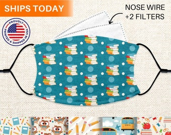Teacher Face Mask With Nose Wire, Reusable, Washable, Adjustable 3 Layer Face Mask With Filter Pocket and Filters, for Women, Adults, & Kids