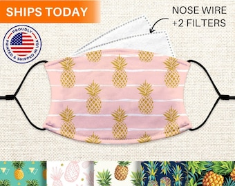 Pineapple Face Mask With Nose Wire, Reusable, Washable, Adjustable 3 Layer Face Mask With Filter Pocket and Filters, for Women, Adults, Kids