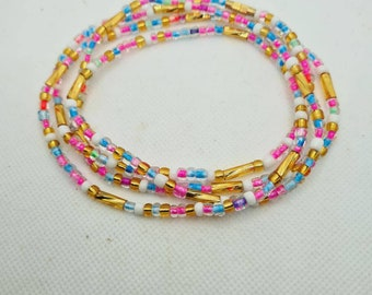 Multi colours Waist Beads On Sale Belly Chain Weight control African beads belly beads Ghana beads Weight Tracker Nigerian waist beads