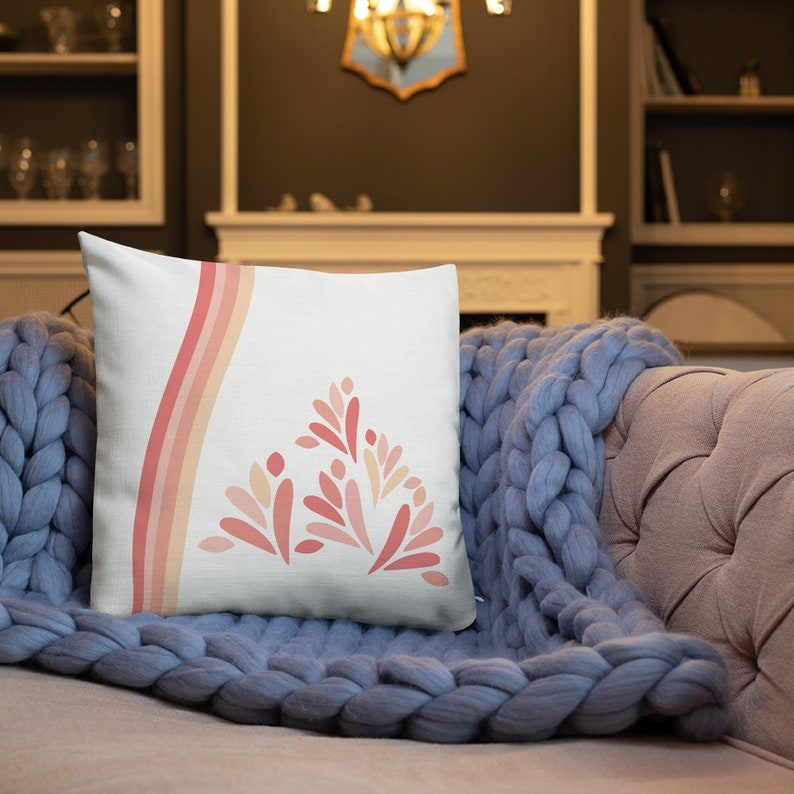 Two sided design pillow Cover Pink and Peach Scatter Cushion White Throw Pillow