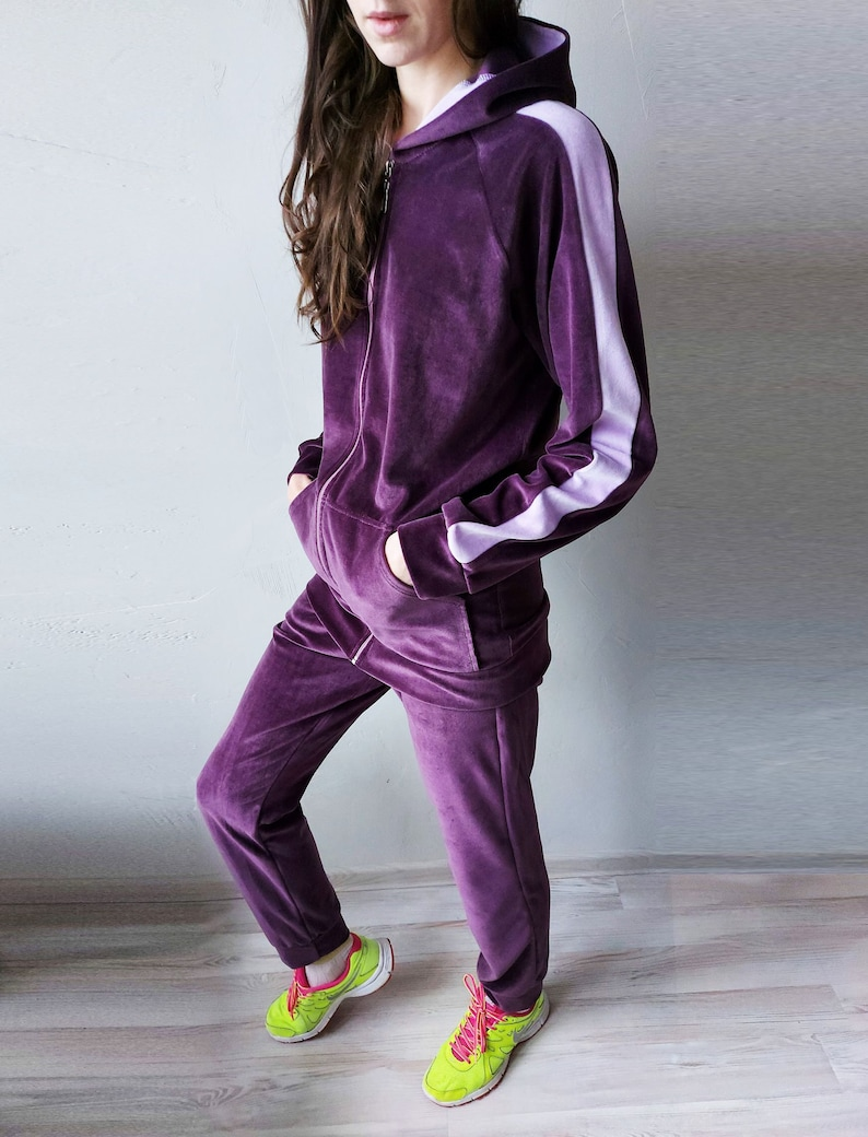 Violet Velour Women SET Tracksuit Women Sweatpants With Cuffs All-day Velvet Hoodie with Zipper /& Hood Comfy Homewear Purple
