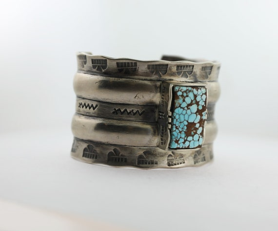 Silver and spiderweb Turquoise Cuff Bracelet