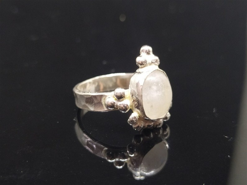 Moonstone Ring  Solid Silver  Minimalist Ring  925K Sterling Silver  Ancient Roman Art Bridesmaid Gift  Dainty Ring Gold Over Gold Vermeil
