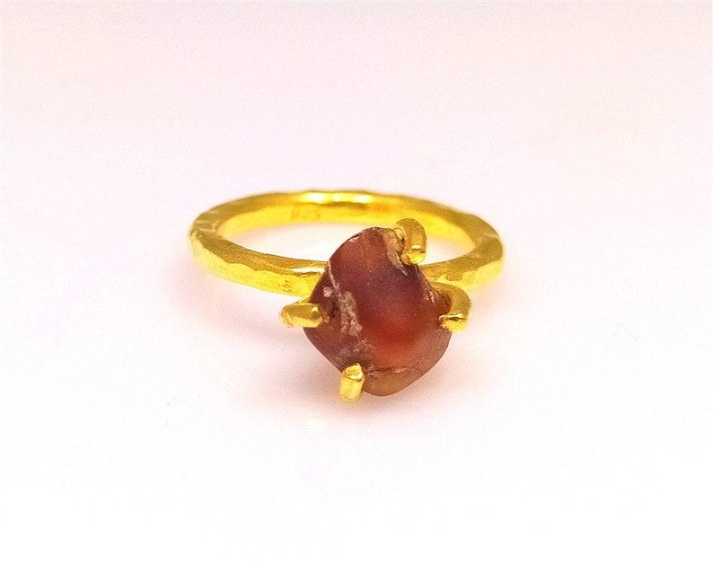 Raw Gemstone Garnet Ring Stacking Dainty Ring  Engagement Ring  December Birthstone Natural amber 925K Sterling Silver Ring