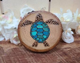 Wood Burning Colorful-Sea Turtles