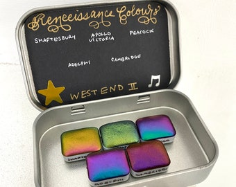 West End II quarter pans tin colorshift supershift handmade watercolor vegan calligraphy ink hand lettering