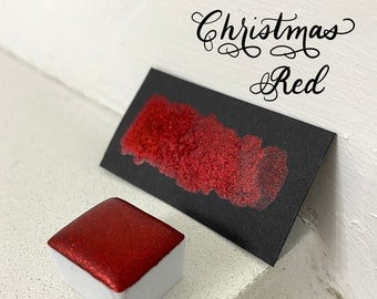 Christmas Red Christmas Collection red glitter vegan metallic handmade watercolor half pan calligraphy ink hand lettering