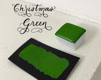 Christmas Green Christmas Collection green glitter vegan metallic handmade watercolor half pan calligraphy ink hand lettering