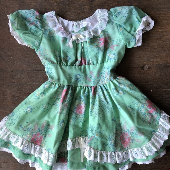 Dog Summer Button Puppy Outfit Vintage Chambray 1960s  1950s Girls Size 5T Toddler Dress 5